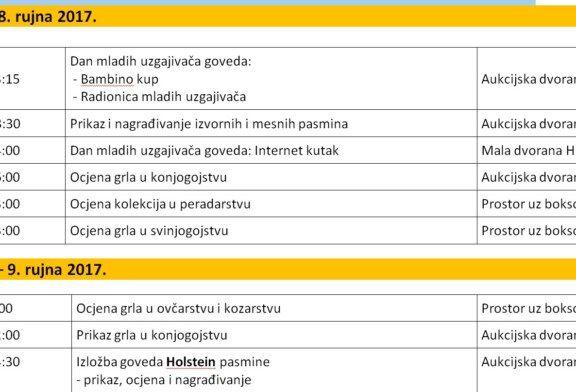 "Program aktivnosti ""Državne stočarske izložbe"" na 25. Jesenskom međunarodnom bjelovarskom sajmu od 8. do 10. rujna 2017."
