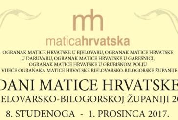 Dani Matice hrvatske u BBŽ od 8. studenoga do 1. prosinca 2017.