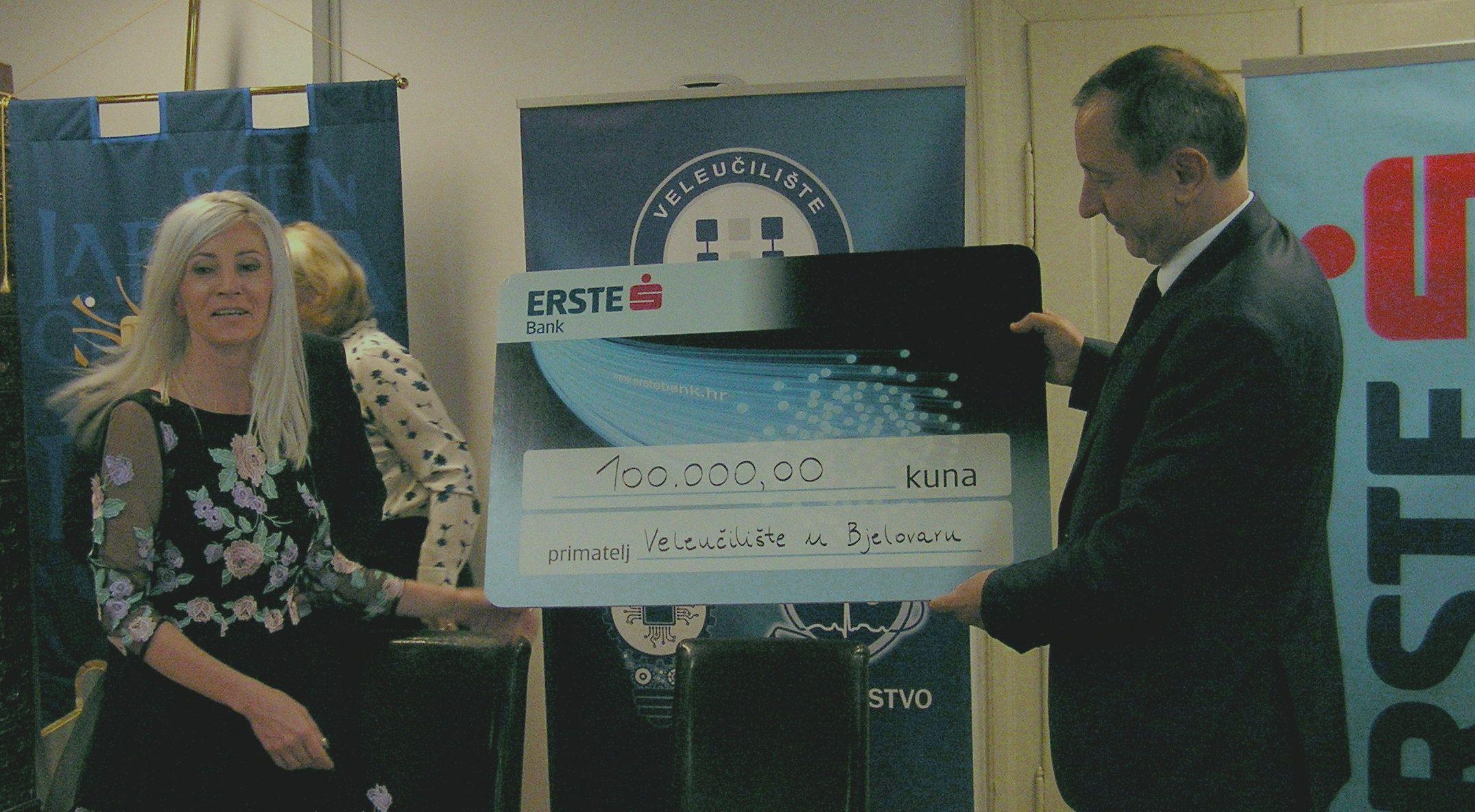 Erste banka za opremanje Veleučilišta u Bjelovaru donirala sto tisuća kuna