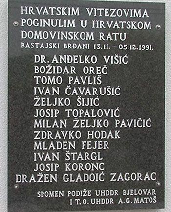 Obilježavanje obljetnice stradanja hrvatskih branitelja u Bastajskim Brđanima