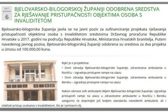 Bjelovarsko-bilogorskoj županiji odobrena sredstva za rješavanje pristupačnosti objektima osoba s invaliditetom