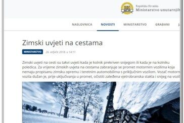 OBAVIJEST Ministarstva unutarnjih poslova RH – Zimski uvjeti na cestama