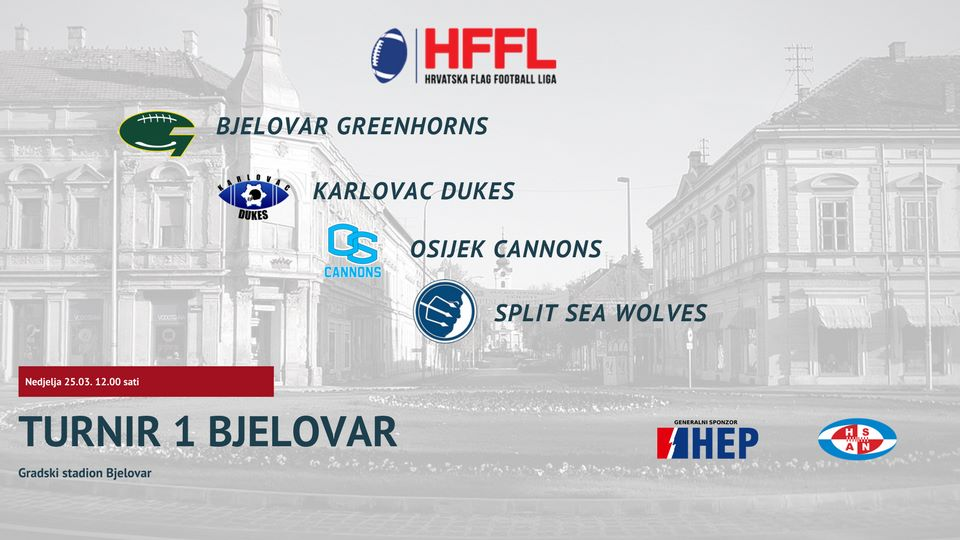 Klub američkog nogometa Bjelovar Greenhorns organizira PRVI TURNIR Hrvatske flag football lige za seniore