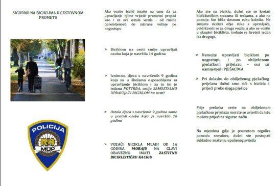 Ministarstvo unutarnjih poslova RH objavilo brošuru Sigurno na biciklima u cestovnom prometu