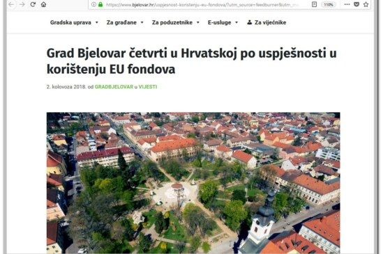 Grad Bjelovar četvrti u Hrvatskoj po uspješnosti u korištenju EU fondova