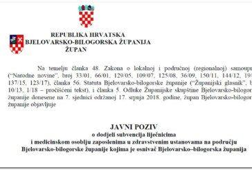 Bjelovarsko-bilogorska županija: JAVNI POZIV o dodjeli subvencija liječnicima i medicinskom osoblju zaposlenima u zdravstvenim ustanovama na području BBŽ-a za 2018. godinu i na dalje