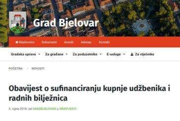 GRAD BJELOVAR: Nova obavijest o sufinanciranju kupnje udžbenika i radnih bilježnica