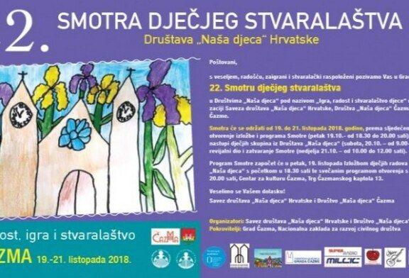 """Grad Čazma domaćin 22. Smotre Društava """"Naša djeca"""" Hrvatske"""