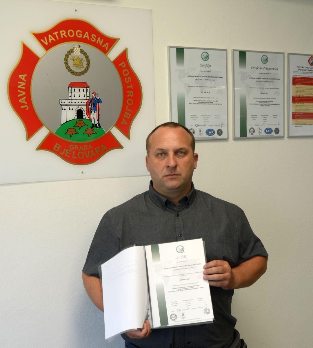Certifikacija Javne vatrogasne postrojbe Grada Bjelovara po normi ISO 45001:2018