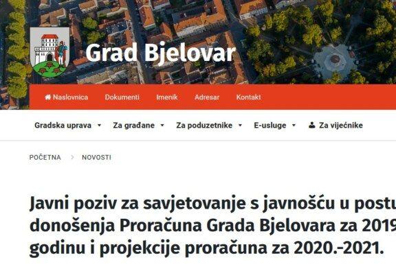 Grad Bjelovar: Javni poziv za savjetovanje s javnošću u postupku donošenja Proračuna Grada Bjelovara za 2019.