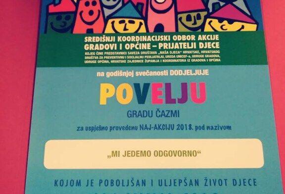 Gradu Čazmi dodijeljena povelja za naj-akciju od Saveza društava Naša djeca Hrvatske