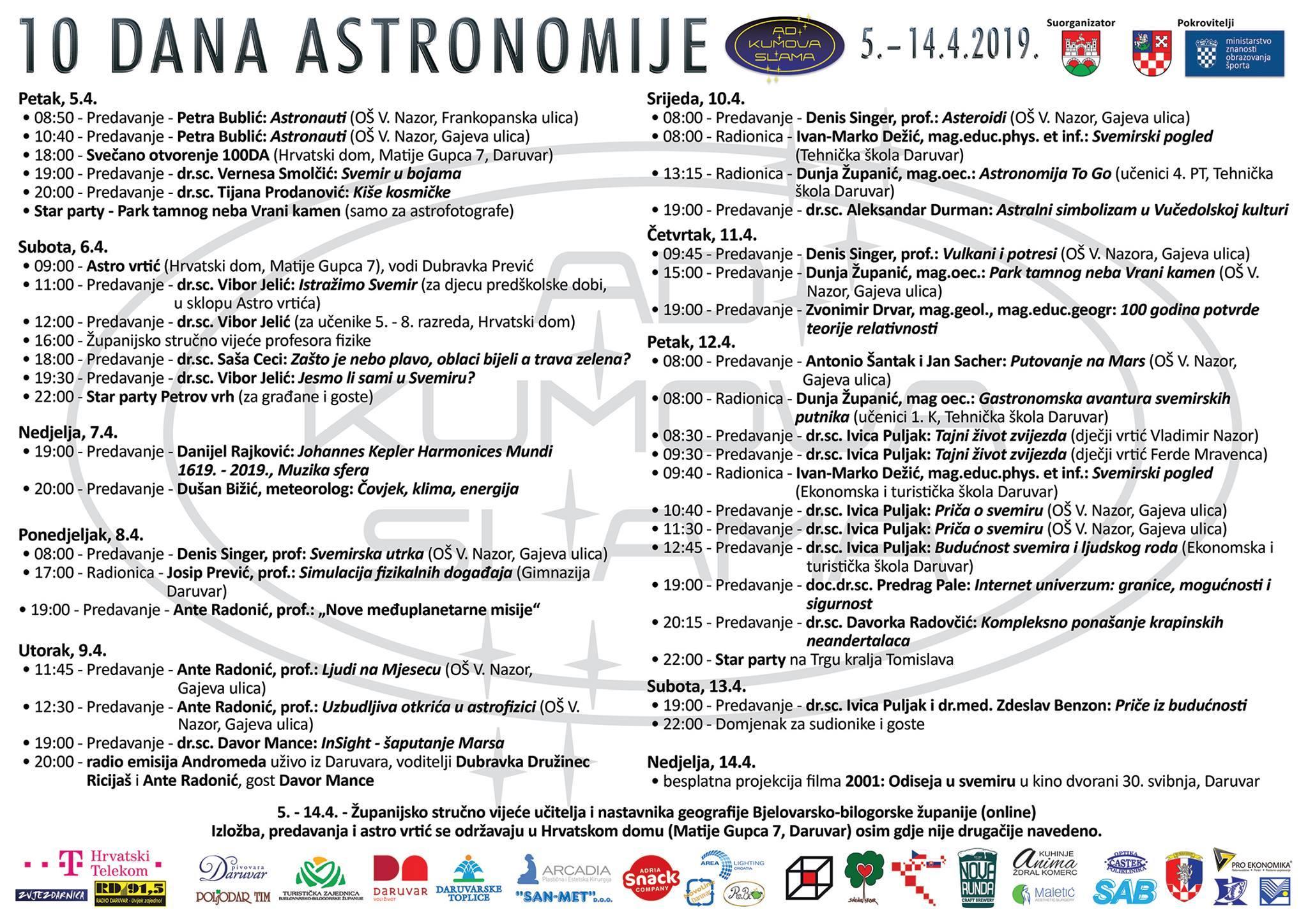 10 dana astronomije u Daruvaru_letak s programom