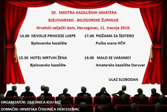 Sutra u Hercegovcu 20. Smotra kazališnih amatera BBŽ-a