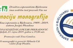 Promocija monografije – 110 godina esperanta u Bjelovaru
