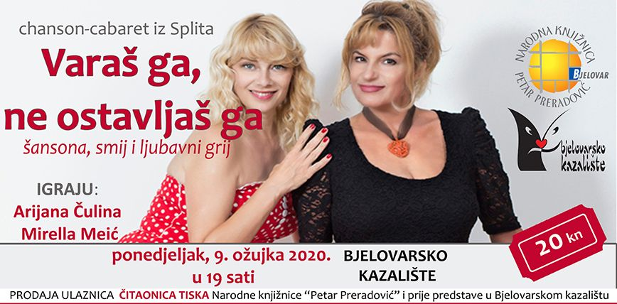 Predstava o ljubavi i braku 'Varaš ga, ne ostavljaš ga' gostuje u Bjelovarskom kazalištu
