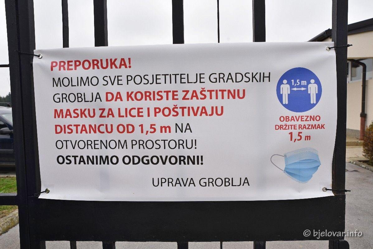 KOMUNALAC BJELOVAR savjetuje građanima da odlazak na groblje prilagode trenutnoj situaciji uz pridržavanje epidemioloških mjera