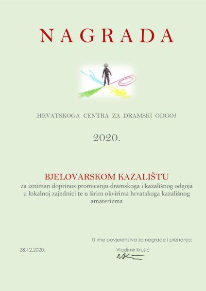 bjelovarsko kazaliste nagrada 2020