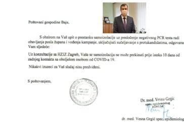 Vrijede li ista pravila za sve: Županu Bajsu nije dopušteno prekinuti samoizolaciju uz negativni PCR test
